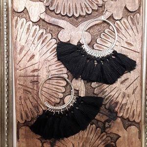 Jewelry - NEW Black Bohemian Tassel/Fringe Earrings